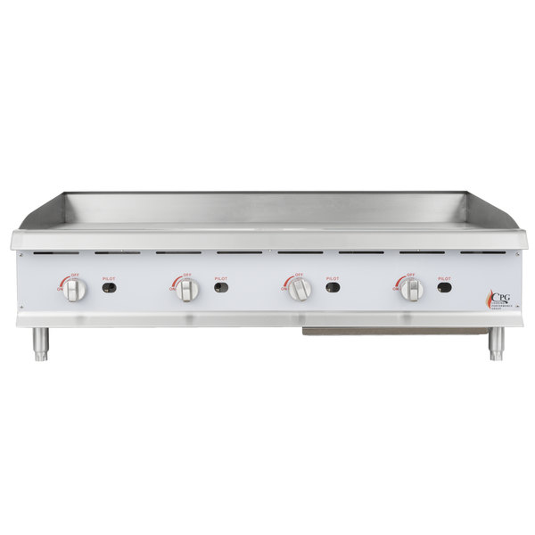 Cooking Performance Group G48 48 inch Gas Countertop Griddle with Manual Controls - 120,000 BTU