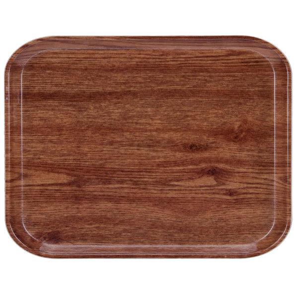 "Cambro 3253304 12 3/4"" x 20 7/8"" (32,5 x 53 cm) Rectangular Metric Country Oak Customizable Fiberglass Camtray - 12/Case"