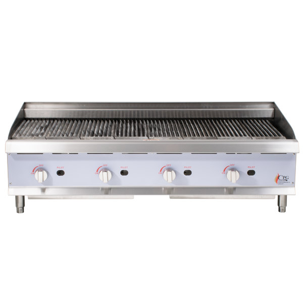 Cooking Performance Group CBL48 48 inch Gas Lava Rock Charbroiler - 160,000 BTU