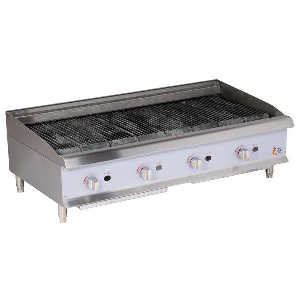 Cooking Performance Group CBL48 48 inch Gas Countertop Lava Briquette Charbroiler - 160,000 BTU