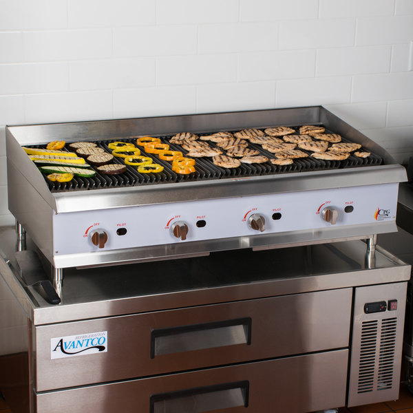 "Cooking Performance Group CBL48 48"" Gas Countertop Lava Rock Charbroiler - 160,000 BTU"