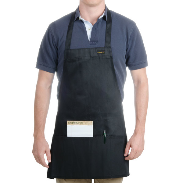 Chef Revival 602BAFH-BK Customizable Professional Front of the House Black Bib Apron - 28 inchL x 25 inchW
