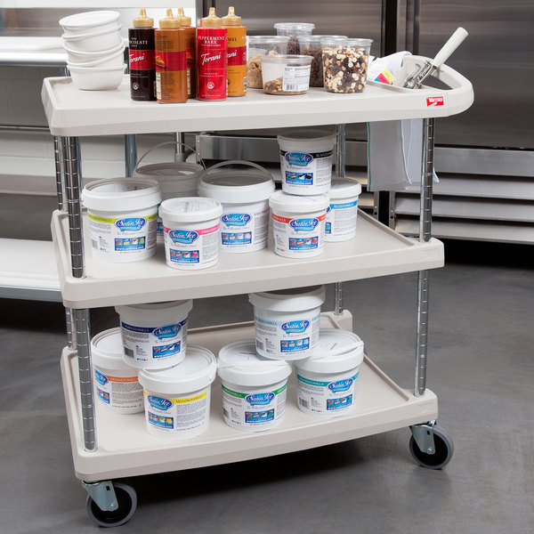 """Metro myCart MY2030-34G Gray Utility Cart with Three Shelves and Chrome Posts - 24"""" x 34"""""""