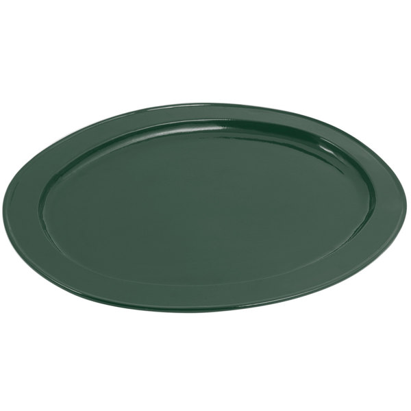 Bon Chef 2045 20 inch x 14 inch Sandstone Hunter Green Cast Aluminum Oval Platter