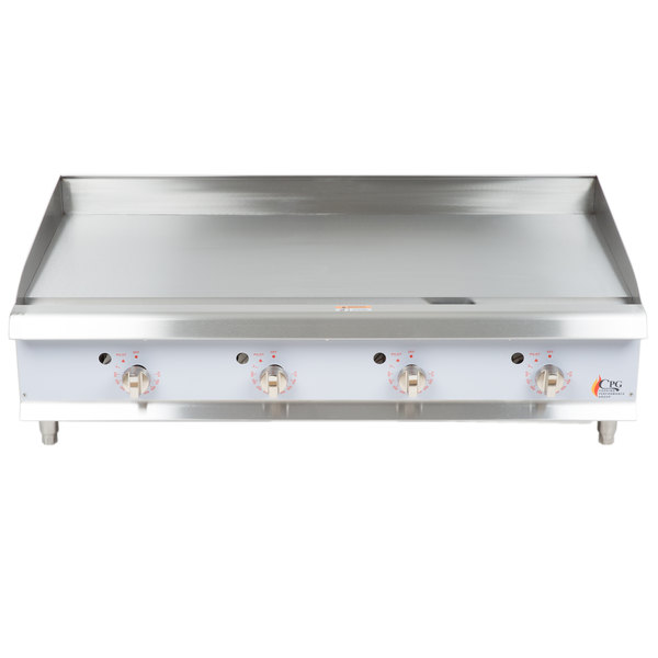 Cooking Performance Group G48T 48 inch Heavy-Duty Gas Countertop Griddle with Thermostatic Controls - 120,000 BTU