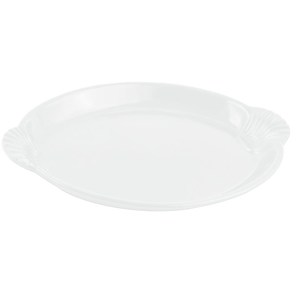 """Bon Chef 2072 12"""" x 17"""" Sandstone White Cast Aluminum Shell and Fish Platter"""