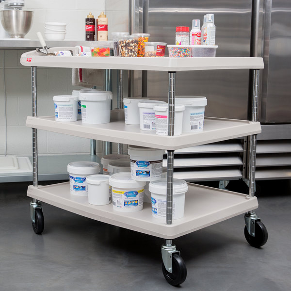"""Metro myCart MY2636-35G Gray Utility Cart with Three Shelves and Chrome Posts - 28"""" x 40"""""""