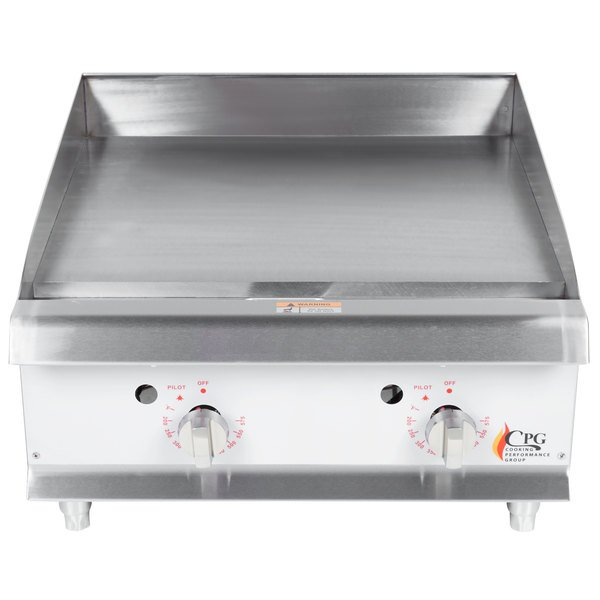 Cooking Performance Group G24T 24 inch Gas Countertop Griddle with Thermostatic Controls - 60,000 BTU