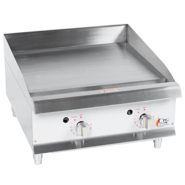 Cooking Performance Group G24T 24 inch Heavy-Duty Gas Countertop Griddle with Thermostatic Controls - 60,000 BTU