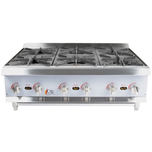 Cooking Performance Group HP636 6 Burner Gas Countertop Hot Plate - 132,000 BTU