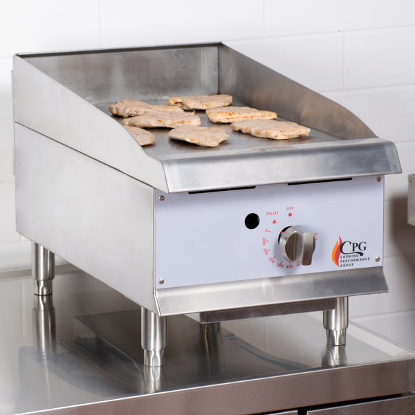 "Cooking Performance Group G15T 15"" Heavy-Duty Gas Countertop Griddle with Flame Failure Protection and Thermostatic Controls - 30,000 BTU Main Image 5"
