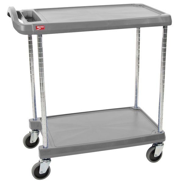 "Metro myCart MY2636-25G Gray Utility Cart with Two Shelves and Chrome Posts - 28"" x 40"""
