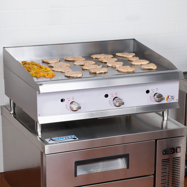 """Cooking Performance Group G36T 36"""" Heavy-Duty Gas Countertop Griddle with Flame Failure Protection and Thermostatic Controls - 90,000 BTU"""
