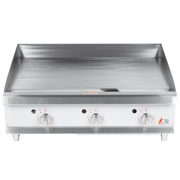 Cooking Performance Group G36T 36 inch Gas Countertop Griddle with Thermostatic Controls - 90,000 BTU