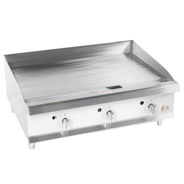 Cooking Performance Group G36T 36 inch Heavy-Duty Gas Countertop Griddle with Thermostatic Controls - 90,000 BTU