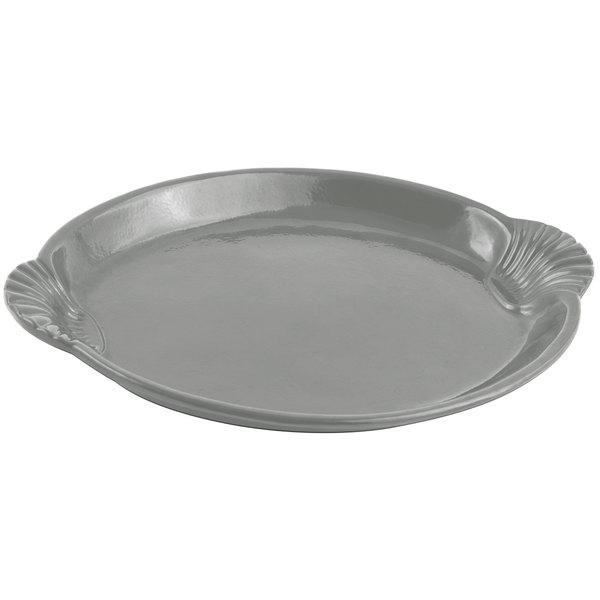"Bon Chef 2072 12"" x 17"" Sandstone Platinum Gray Cast Aluminum Shell and Fish Platter"