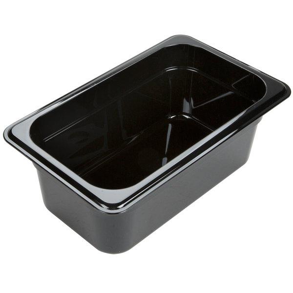 "Carlisle 3088103 StorPlus 1/4 Size Black High Heat Plastic Food Pan - 4"" Deep Main Image 1"