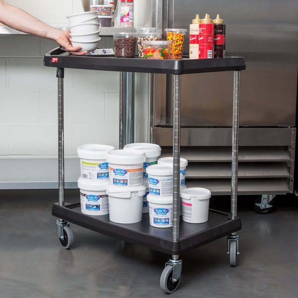 """Metro myCart MY1627-24BL Black Utility Cart with Two Shelves and Chrome Posts - 18"""" x 32"""" Main Image 3"""