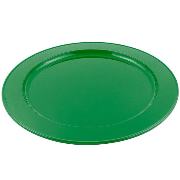 "Bon Chef 2048 16"" Sandstone Calypso Green Cast Aluminum Round Platter"