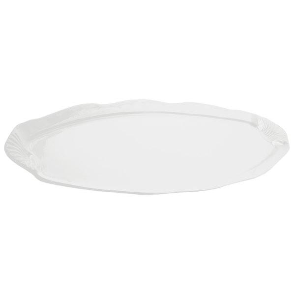 Bon Chef 2065 28 inch x 12 inch Sandstone White Cast Aluminum Shell and Fish Platter