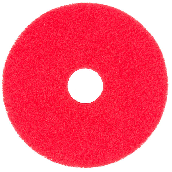 """Scrubble by ACS 51-15 Type 55 15"""" Red Buffing Floor Pad - 5/Case"""