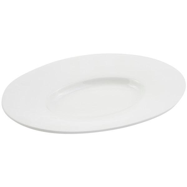 "Bon Chef 2090 19"" x 16"" Sandstone White Cast Aluminum Wide Rim Platter"