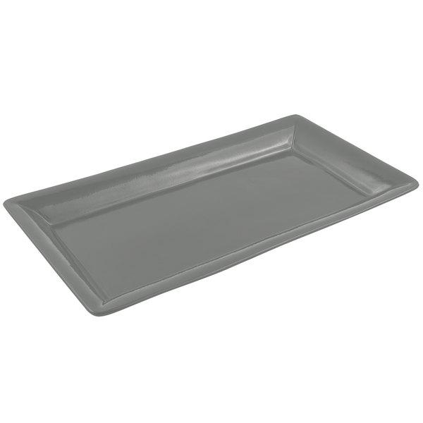 Bon Chef 5057 19 inch x 10 inch Sandstone Platinum Gray Cast Aluminum Display Pan