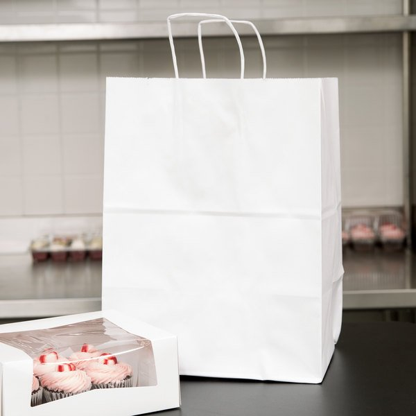 "Duro Regal White Paper Shopping Bag with Handles 12"" x 9"" x 16"" - 200/Bundle Main Image 3"