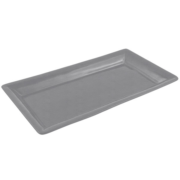 "Bon Chef 5057 19"" x 10"" Sandstone Smoke Gray Cast Aluminum Display Pan"