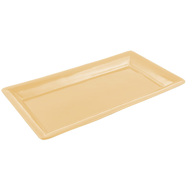 "Bon Chef 5057 19"" x 10"" Sandstone Ginger Cast Aluminum Display Pan"