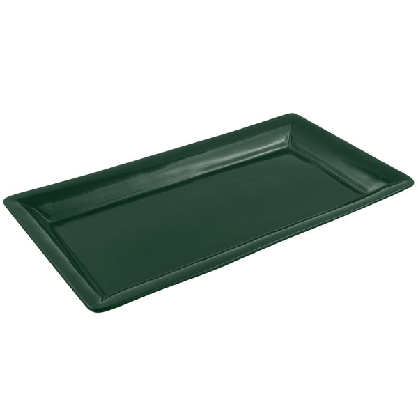 Bon Chef 5057 19 inch x 10 inch Sandstone Hunter Green Cast Aluminum Display Pan