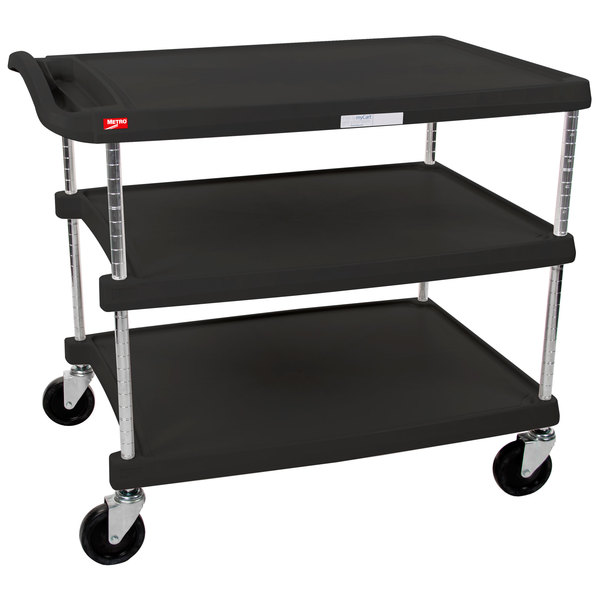 """Metro myCart MY2636-35BL Black Utility Cart with Three Shelves and Chrome Posts - 28"""" x 40"""""""