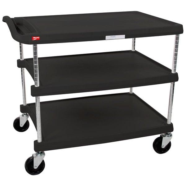 "Metro myCart MY2636-35BL Black Utility Cart with Three Shelves and Chrome Posts - 28"" x 40"" Main Image 1"