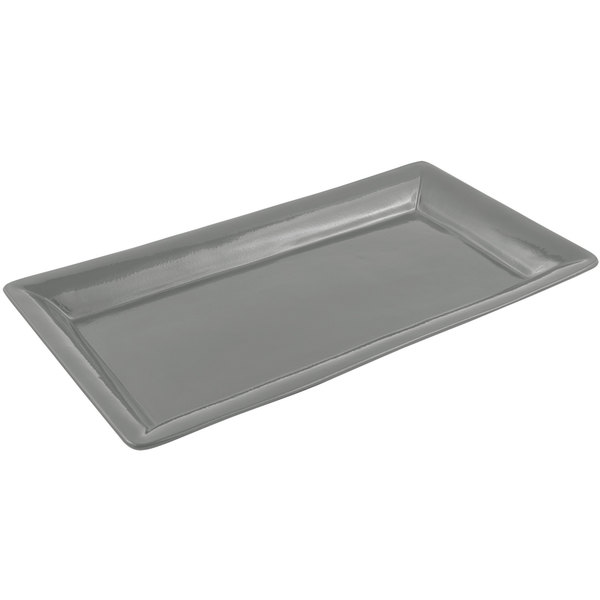Bon Chef 5056 21 inch x 13 inch Sandstone Platinum Gray Cast Aluminum Full Size Food / Display Pan