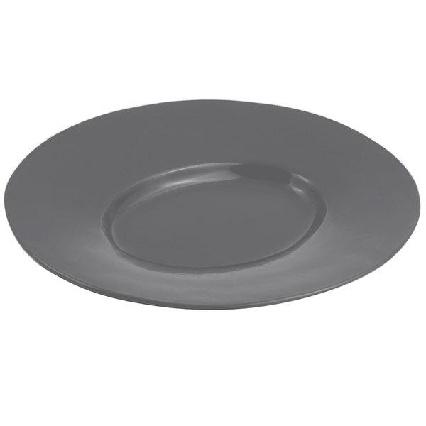 "Bon Chef 2090 19"" x 16"" Sandstone Smoke Gray Cast Aluminum Wide Rim Platter"