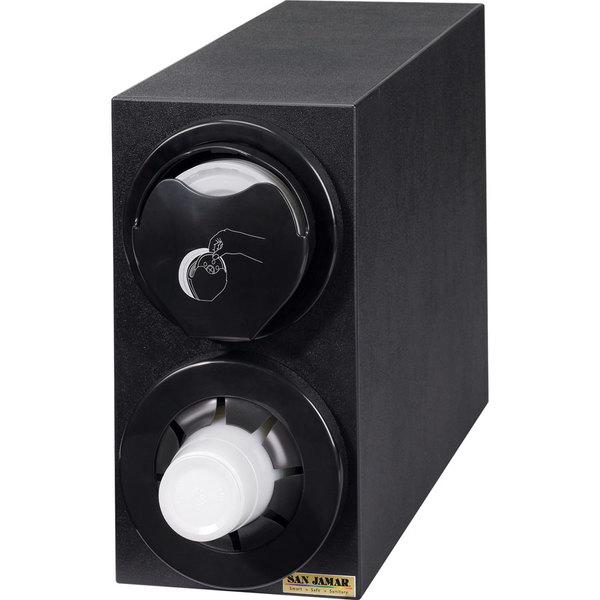 San Jamar L24C2951BK Sentry Black 2-Slot Vertical 8 - 44 oz. Countertop Cup and Lid Dispenser Cabinet