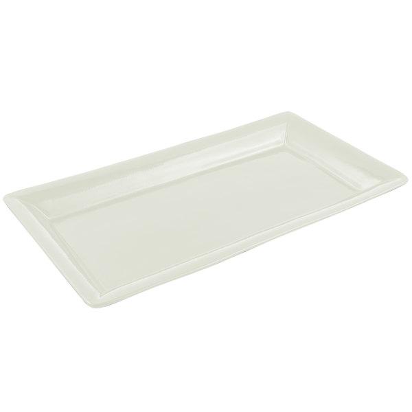 "Bon Chef 5057 19"" x 10"" Sandstone Ivory Cast Aluminum Display Pan"