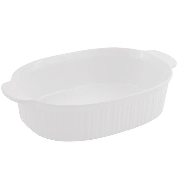 Bon Chef 5055 4 Qt. Sandstone White Cast Aluminum Oval Casserole Dish