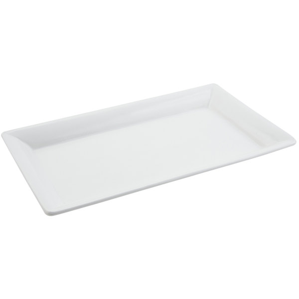 Bon Chef 5057 19 inch x 10 inch Sandstone White Cast Aluminum Display Pan