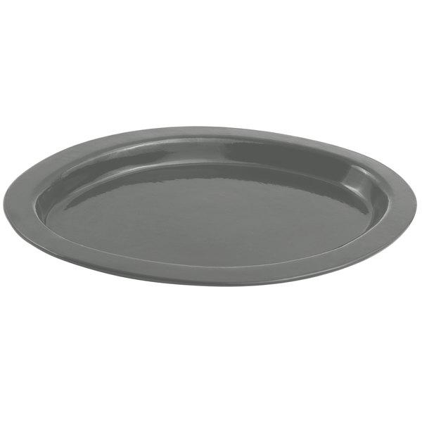 "Bon Chef 5110 11"" x 17"" Sandstone Platinum Gray Cast Aluminum Oval Casserole Dish"
