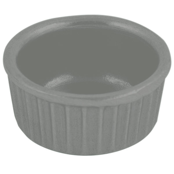 Bon Chef 9024 2 oz. Platinum Gray Sandstone Finish Cast Aluminum Fluted Ramekin Main Image 1
