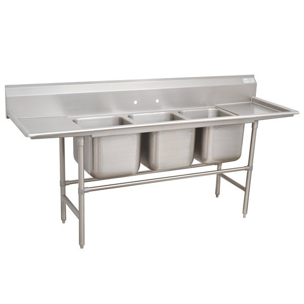 """Advance Tabco 94-3-54-36RL Spec Line Three Compartment Pot Sink with Two Drainboards - 127"""""""
