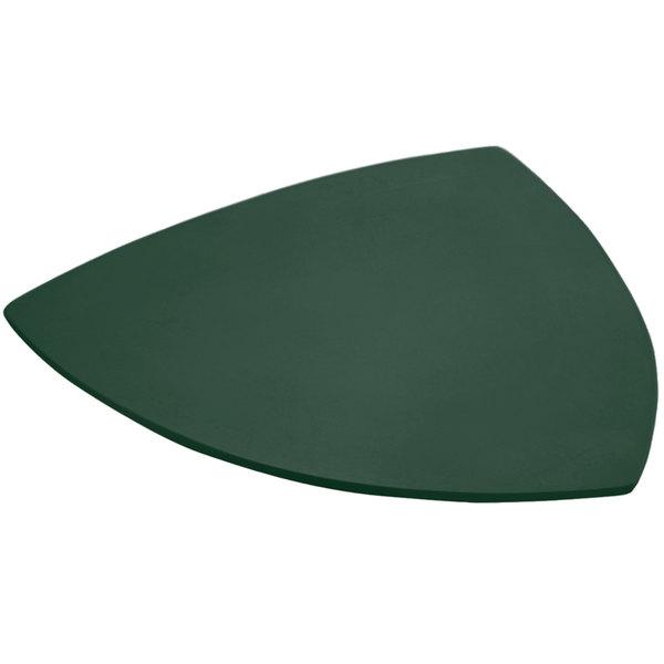 "Bon Chef 9162 24"" Hunter Green Sandstone Finish Cast Aluminum Triangle Serving Plate Main Image 1"