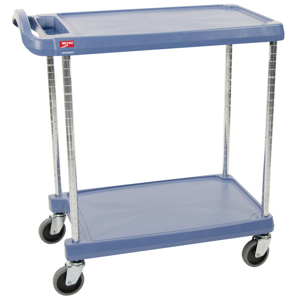 """Metro myCart MY2636-25BU Blue Antimicrobial Utility Cart with Two Shelves and Chrome Posts - 28"""" x 40"""" Main Image 1"""