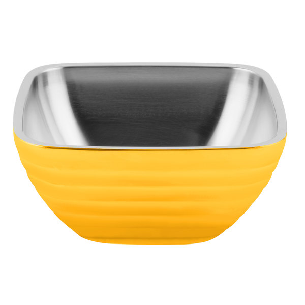Vollrath 4761945 24 oz. Stainless Steel Double Wall Nugget Yellow Square Beehive Serving Bowl Main Image 1