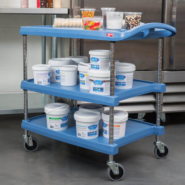 """Metro myCart MY2030-34BU Blue Antimicrobial Utility Cart with Three Shelves and Chrome Posts - 24"""" x 34"""""""