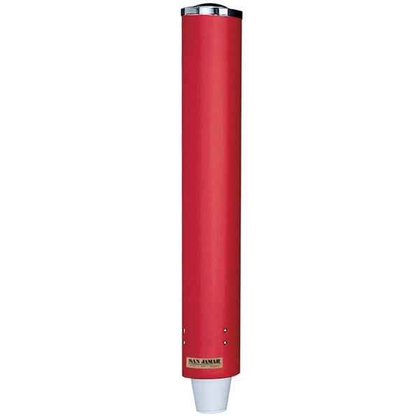 San Jamar C4410PRD Pull-Type Red Wall Mount 12 - 24 oz. Paper / Plastic Cup Dispenser Main Image 1