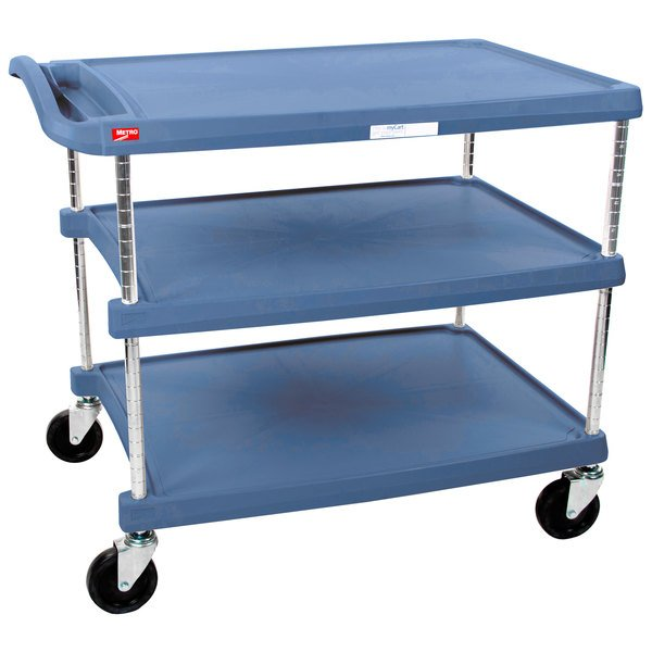 """Metro myCart MY2636-35BU Blue Antimicrobial Utility Cart with Three Shelves and Chrome Posts - 28"""" x 40"""" Main Image 1"""