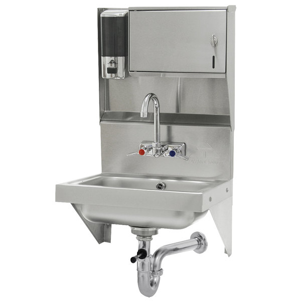 """Advance Tabco 7-PS-69 Wall Mounted Hand Sink with Soap and Paper Towel Dispenser - 17 1/4"""" x 15 1/4"""""""