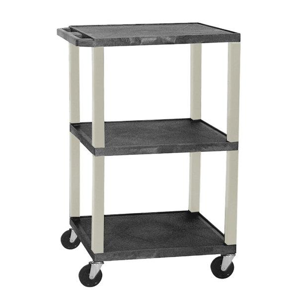 "Luxor WT1642E Black Tuffy Open Shelf A/V Cart 18"" x 24"" with 3 Shelves - Adjustable Height Main Image 1"